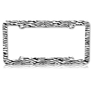 BasAcc Black/ White Zebra Plastic License Plate Frame