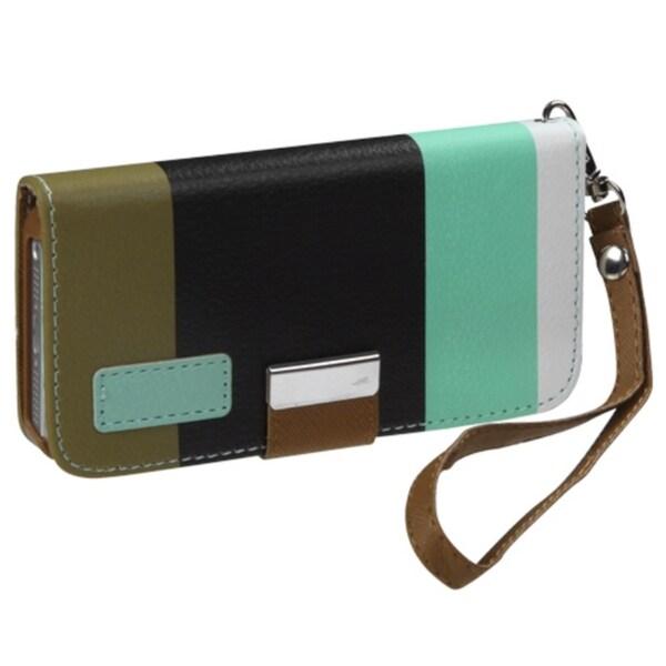 BasAcc Baby Blue/ Black/ Grey MyJacket Wallet Case for Apple iPhone 5