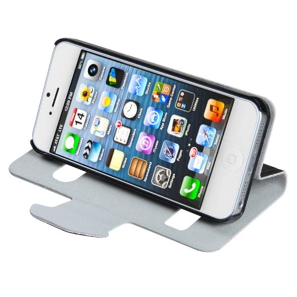 INSTEN Black Wallet Phone Case Cover for Apple iPhone 5
