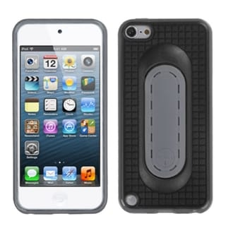 Insten Black/ Gray TPU Rubber Candy Skin Case Cover with Stand For Apple iPod Touch 5th/ 6th Gen