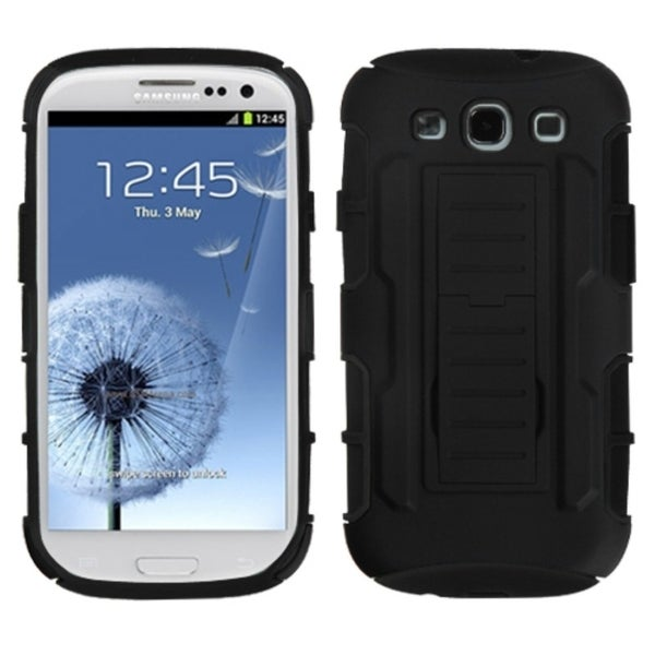 BasAcc Black Armor Stand Case for Samsung Galaxy S3/ S III i9300