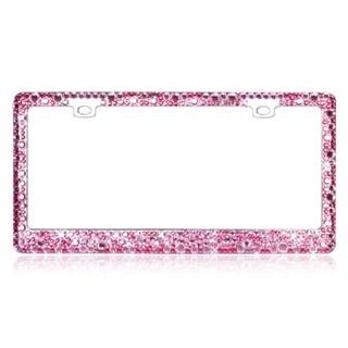 INSTEN Pink Crystal License Plate Frame