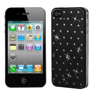 BasAcc Black Studded Case with Black Sides for Apple iPhone 4/ 4S