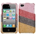BasAcc Pink/ Red Stripes Diamante Case for Apple iPhone 4/ 4S
