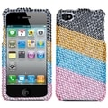 BasAcc Blue/ Pink Stripes Diamante Case for Apple iPhone 4/ 4S