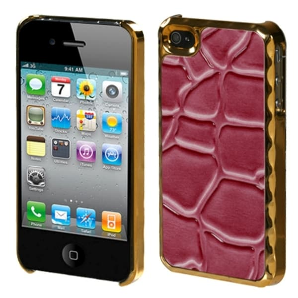 INSTEN Hot Pink Rose Stone Texture Alloy Phone Case Cover for Apple iPhone 4/ 4S