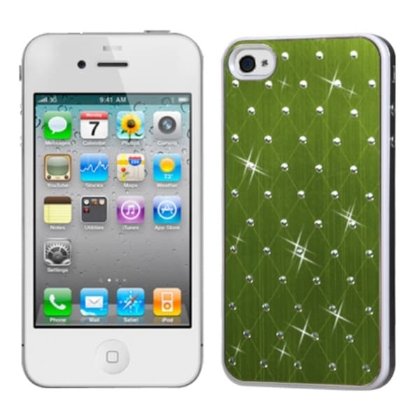 INSTEN Green Studded Phone Case Cover with White Sides for Apple iPhone 4/ 4S