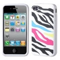 BasAcc Rainbow Zebra/ White Pastel Skin Case for Apple iPhone 4/ 4S