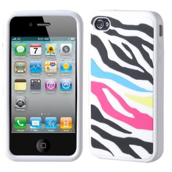 INSTEN Rainbow Zebra/ White Pastel Skin Phone Case Cover for Apple iPhone 4/ 4S