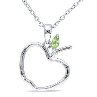 Miadora Sterling Silver Peridot Apple Necklace