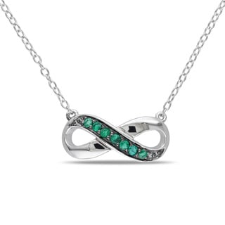 Miadora Sterling Silver Emerald Infinity Necklace