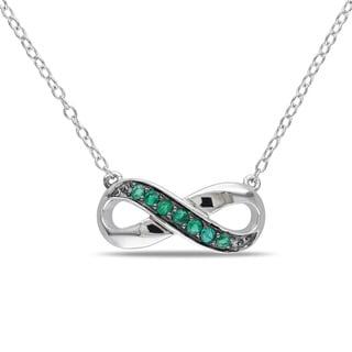 Miadora Sterling Silver Emerald Infinity Necklace