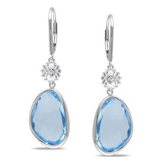 Miadora 14k White Gold 18ct TGW Blue Topaz and Diamond Dangle Earrings