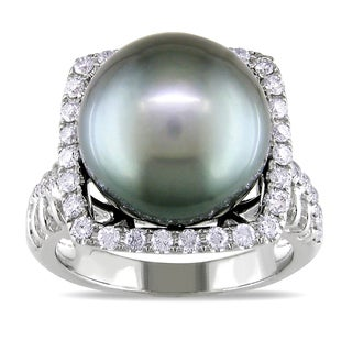Miadora 14k White Gold Tahitian Pearl 5/8ct Diamond Ring (G-H, SI1-SI2)