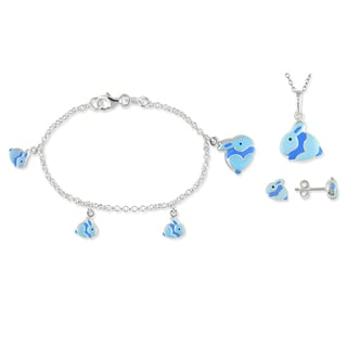 M by Miadora Sterling Silver Earrings Bracelet and Necklace 3-piece Set
