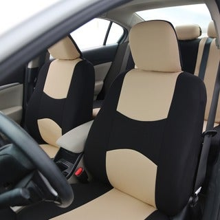 FH Group Beige Full Set Seat Covers with Solid Bench for Sedans and SUV