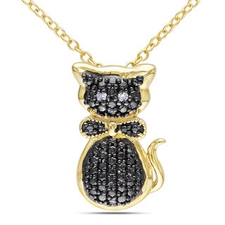 Miadora Yellow Plated Silver Diamond Cat Necklace
