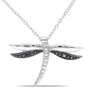 M by Miadora Sterling Silver Black Diamond Dragonfly Necklace