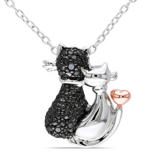 Miadora Two-tone Silver Black Diamond Cat Necklace