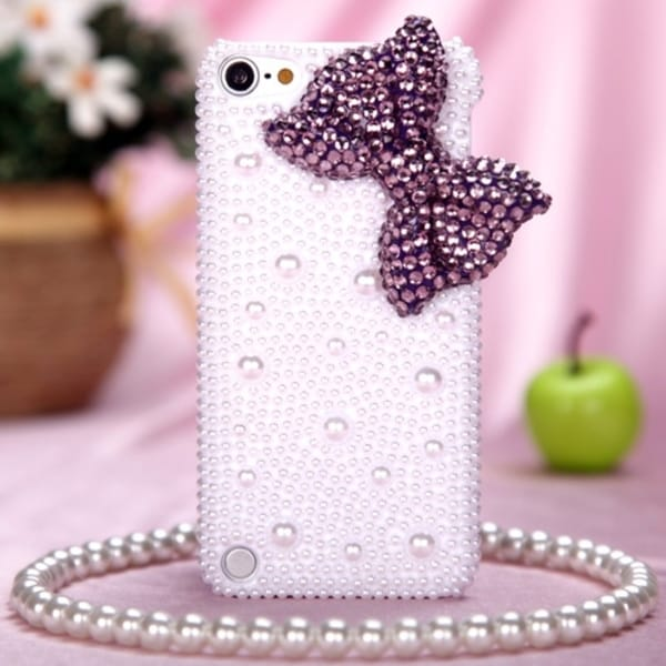 INSTEN Purple Bow/ Pearl 3D Diamond Back iPod Case Cover for Apple iPod touch 5