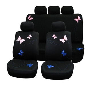 FH Group Butterfly Embroidery Full Set Auto Seat Covers with Solid Bench