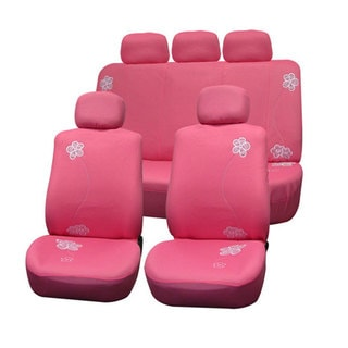 FH Group Pink Flower Embroidery Airbag-safe Fabric Seat Covers