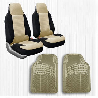 FH Group Beige Front Bucket Seat Covers and Front Floor Mats