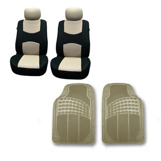 FH Group Beige Front Set Bucket Seat Covers and Floor Mats