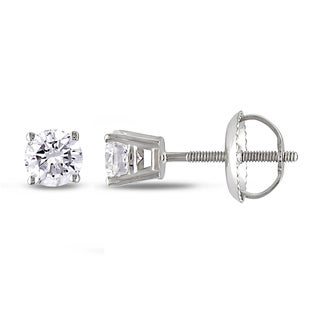 Miadora 14k White Gold 1/2ct TDW Certified Diamond Stud Earrings (H-I, I1-I2)
