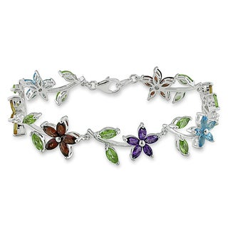 Miadora Sterling Silver 6ct TGW Multi-Gemstone Flower Bracelet