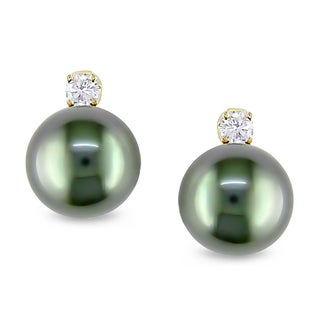 Miadora 14k Yellow Gold Tahitian Pearl 1/5ct Diamond Earrings (H-I, I2-I3)
