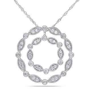 Miadora 14k White Gold 1/2ct TDW Diamond Circle Necklace (G-H, I1-I2)