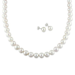 Miadora Cultured Freshwater Pearl Necklace and Earrings 2-piece Set (9-10mm)