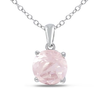 M by Miadora Sterling Silver Rose Quartz Solitaire Necklace