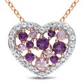 Miadora Rose Plated Silver Amethyst White Topaz Heart Necklace