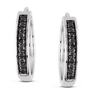 M by Miadora Sterling Silver 1/3ct TDW Black Diamond Hoop Earrings