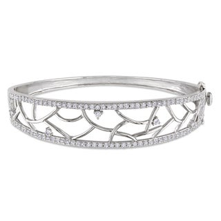 Miadora Sterling Silver Cubic Zirconia Bangle
