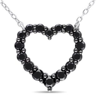 Miadora Sterling Silver 1ct TDW Black Diamond Heart Necklace