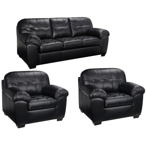 Emma Black Italian Leather Sofa and Two Chairs