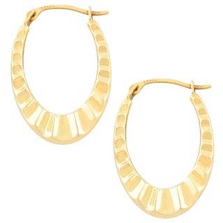 Fremada 10k Yellow Gold Wave Oval Hoop Earrings