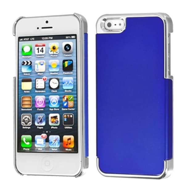 INSTEN Dark Blue/ Silver MyDual Back Phone Case for Apple iPhone 5/ 5S/ SE