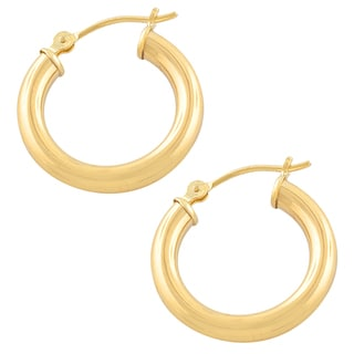 Fremada 10k Polished Round Hoop Earrings