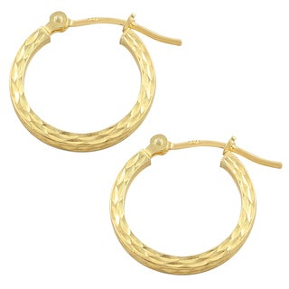 Fremada 10k Yellow Gold Diamond-cut Hoop Earrings