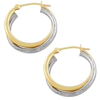 Fremada 10k Two-tone Gold Polished/ Diamond-cut Double Hoop Earrings