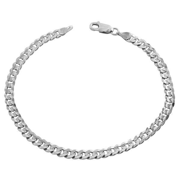Fremada 14k White Gold Concave Flat Curb Bracelet