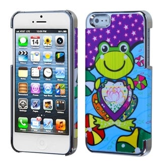 INSTEN Purple Lotus Frog/ Silver MyDual Phone Case Cover for Apple iPhone 5