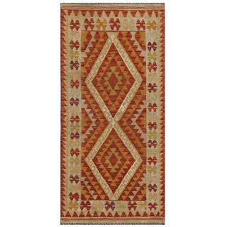 Afghan Hand-knotted Mimana Kilim Red/ Orange Wool Rug (2'4 x 4'11)