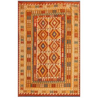 Afghan Hand-knotted Mimana Kilim Light Brown/ Brown Wool Rug (6'6 x 9'9)