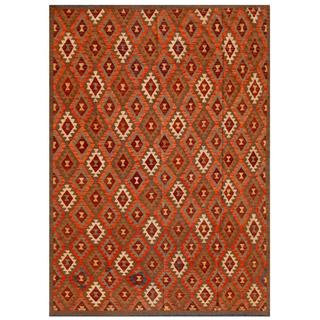 Afghan Hand-knotted Mimana Kilim Orange/ Brown Wool Rug (6'9 x 9'4)
