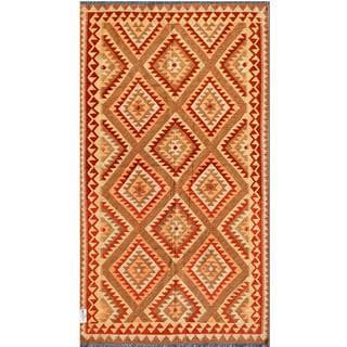 Afghan Hand-knotted Mimana Kilim Brown/ Red Wool Rug (4'10 x 8'7)